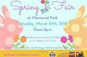 Save the date: Albany Preschool's Spring Fair at Memorial Park is Saturday, March 24, 2018!